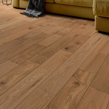 Premier Click 14mm x 125mm Oak Brushed & Matt Lacquered Engineered Real Wood Flooring (SKU-190272)