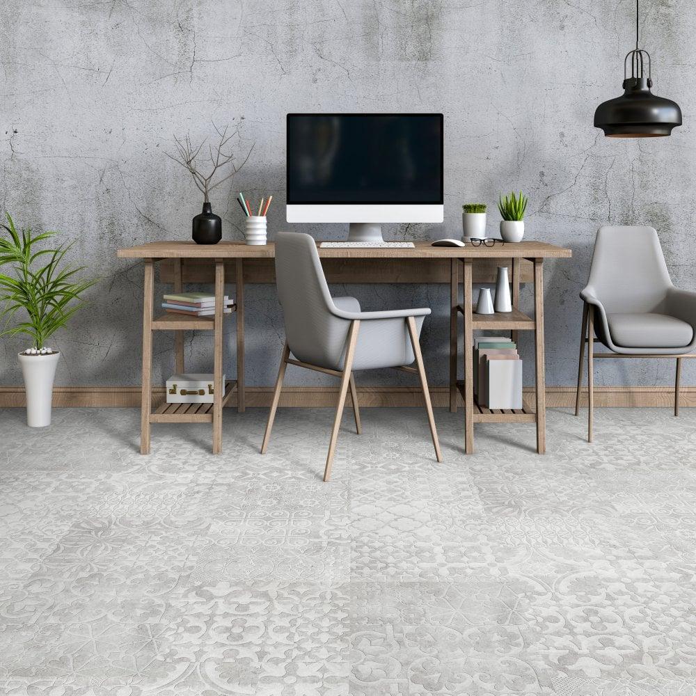 Falquon Quadraic Relief White Laminate Tile Flooring Leader Floors