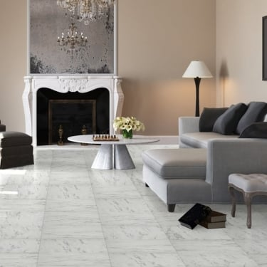 Quickstep Arte 9.5mm Carrara Marble Laminate Tile Flooring