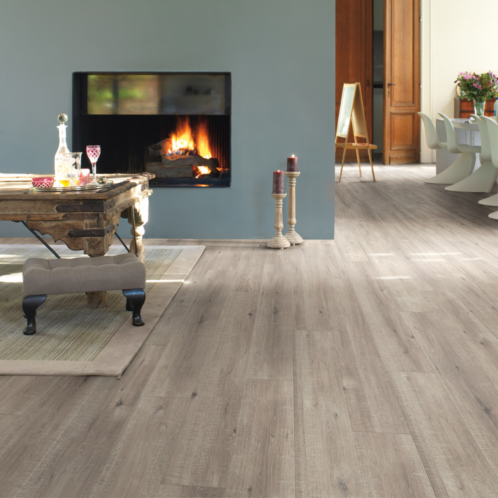 What Color Wood Floor With Gray Walls: Quickstep Impressive 8mm Saw Cut Oak Grey Laminate