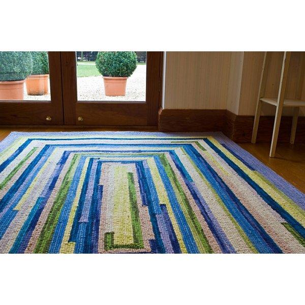 Ocean Square Spiral Loop Weave Rug