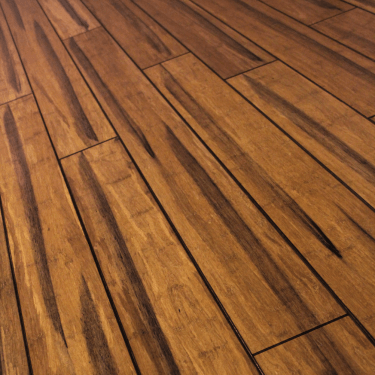 Rustic 14mm x 125mm Carbonised Strand Woven Bamboo Lacquered Solid Wood Flooring (SKU-120681)