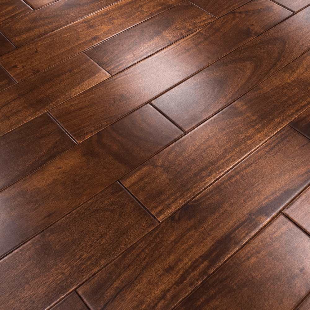 Stained lacquered 18x123mm solid asian walnut flooring for Walnut laminate flooring