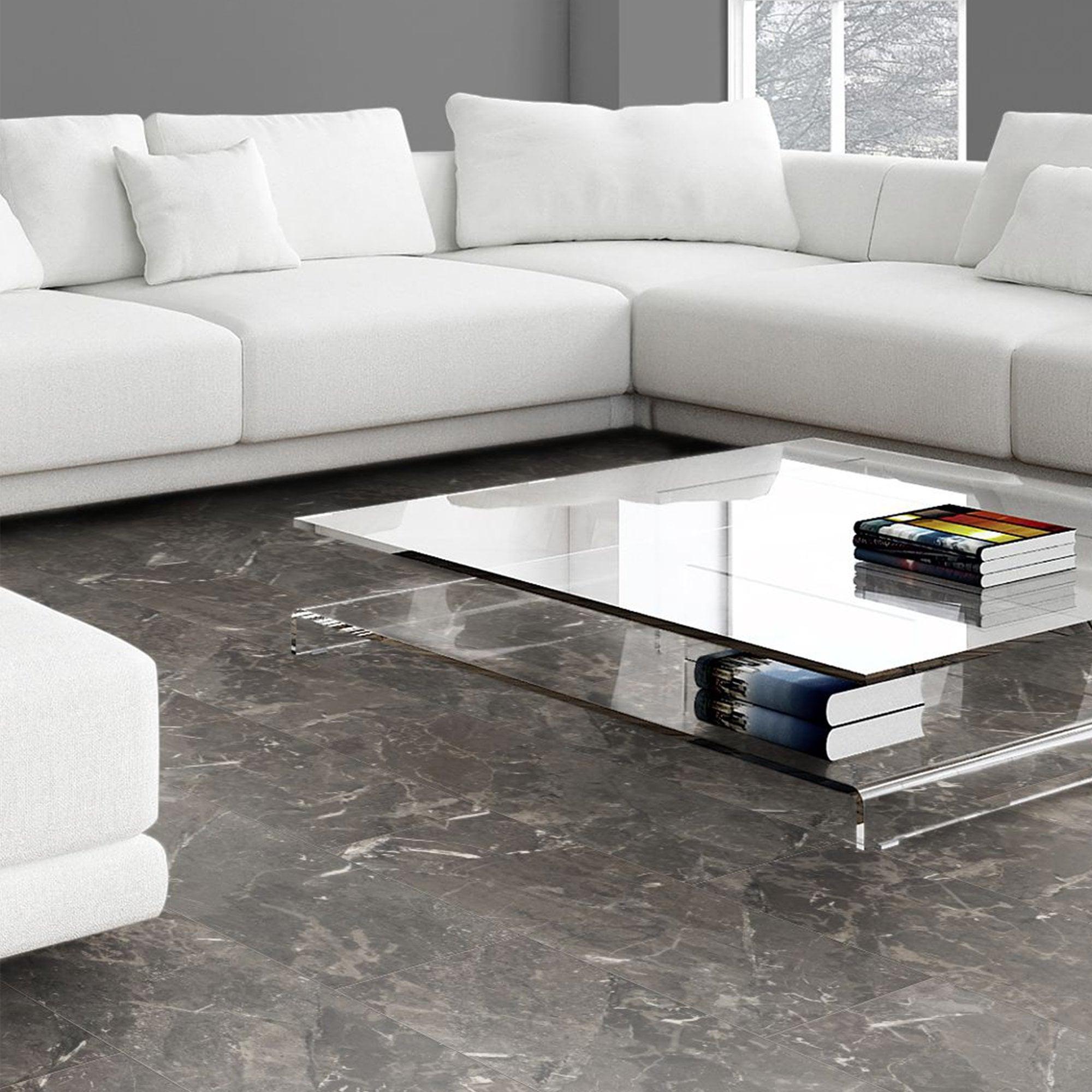 Liberty Floors Stellato 8mm Black Granite Tile Laminate Flooring 44159 Leader Floors