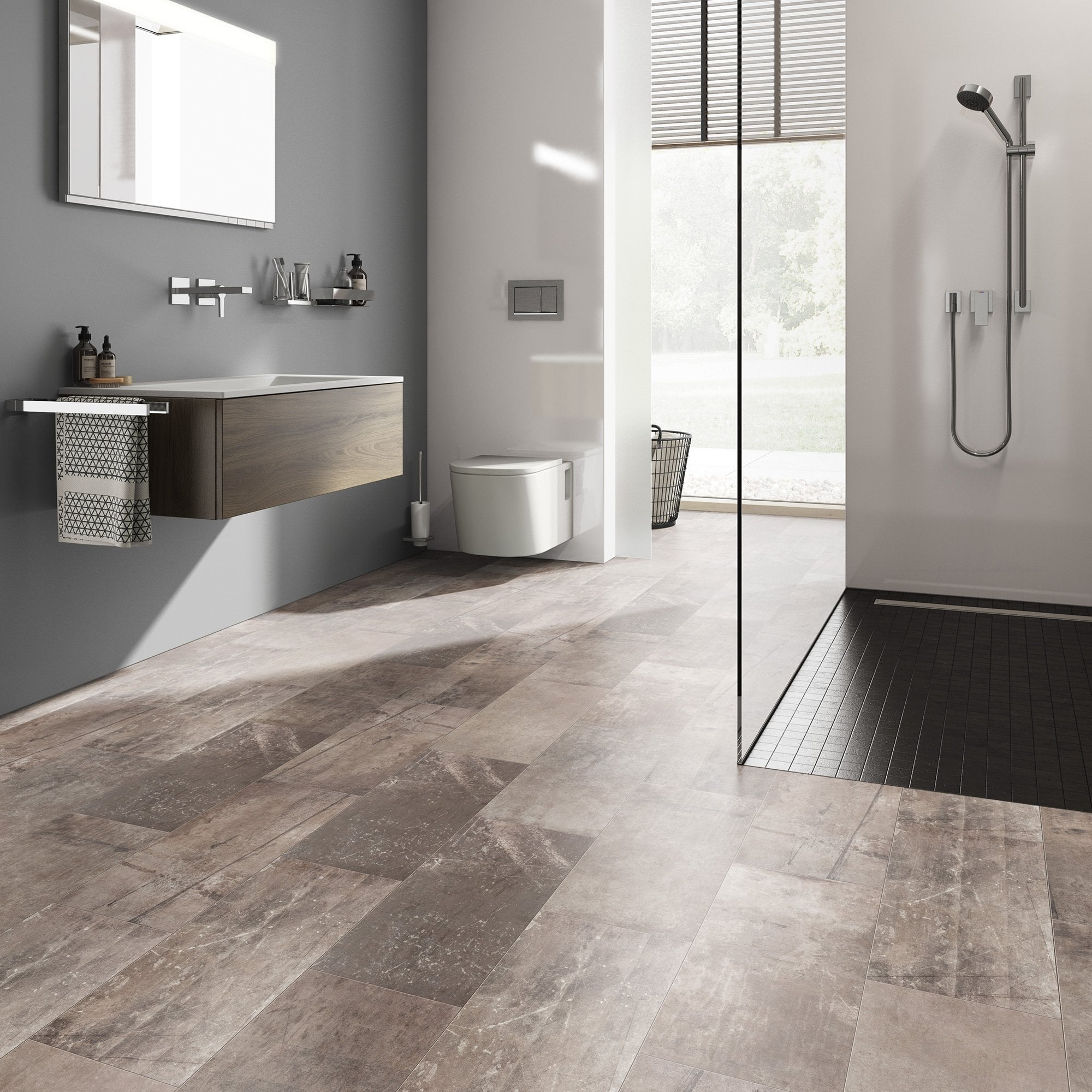 Liberty Floors Stellato 8mm Slate Ash Tile Laminate Flooring 44410 Leader Floors