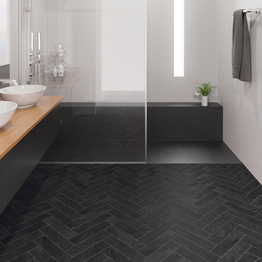 Faus Stone Effects 8mm Black, Waterproof Bathroom Flooring
