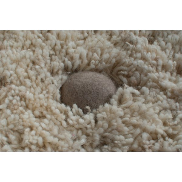 Real Rug Stone Garden Wool Beige & White Rectangular