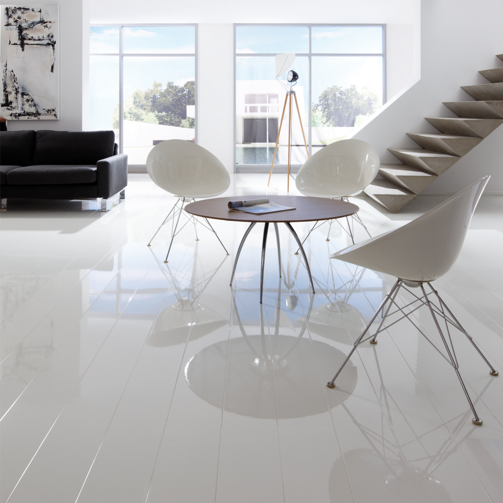 Elesgo supergloss extra sensitive arctic white high for White laminate flooring