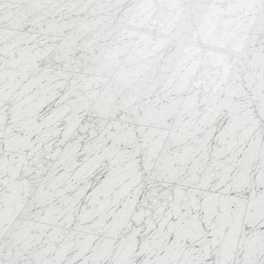 Supergloss Maxi V5 7.7mm Carrara White Tile High Gloss Laminate Flooring (772617)