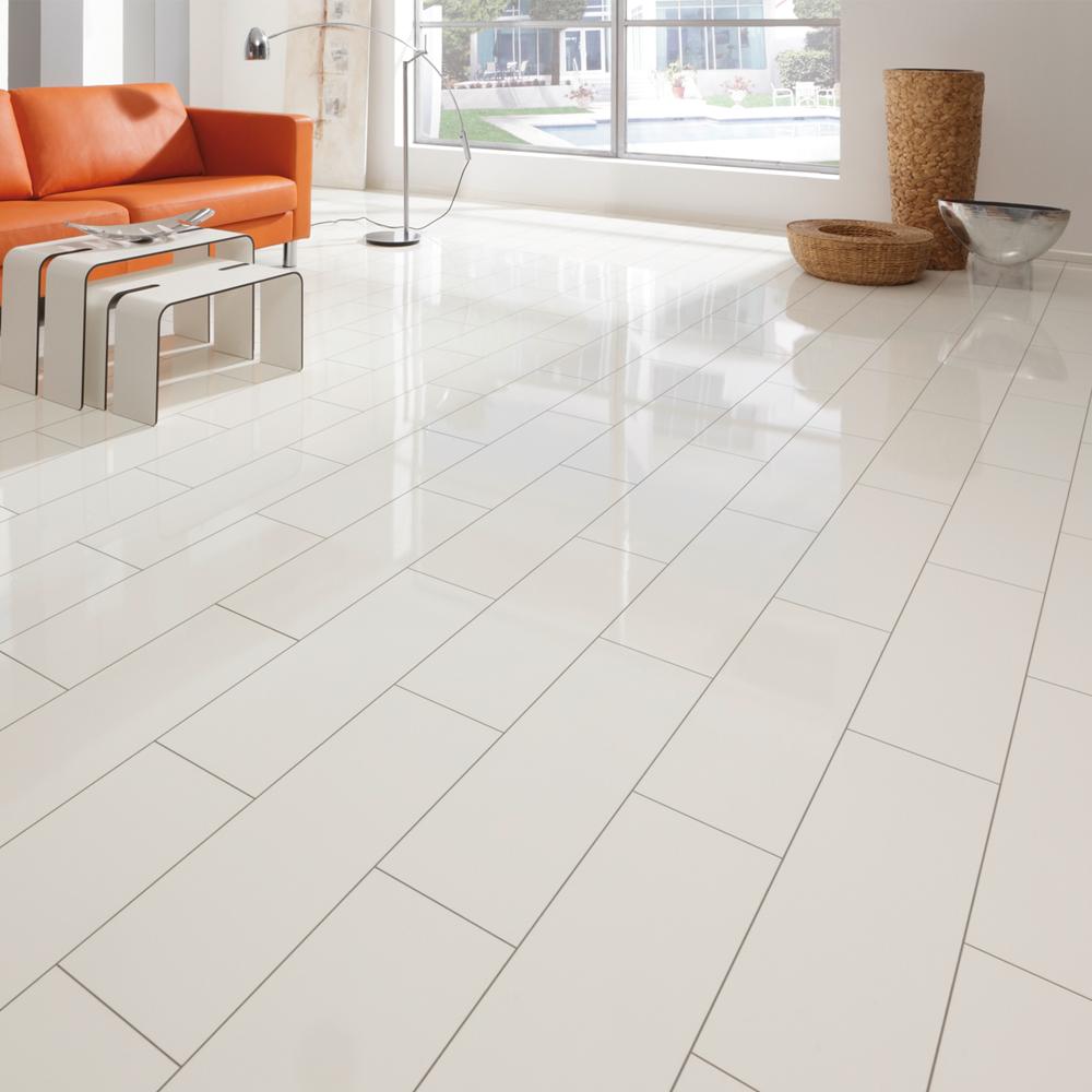 White Laminate Flooring : Elesgo supergloss v mm white micro groove high gloss