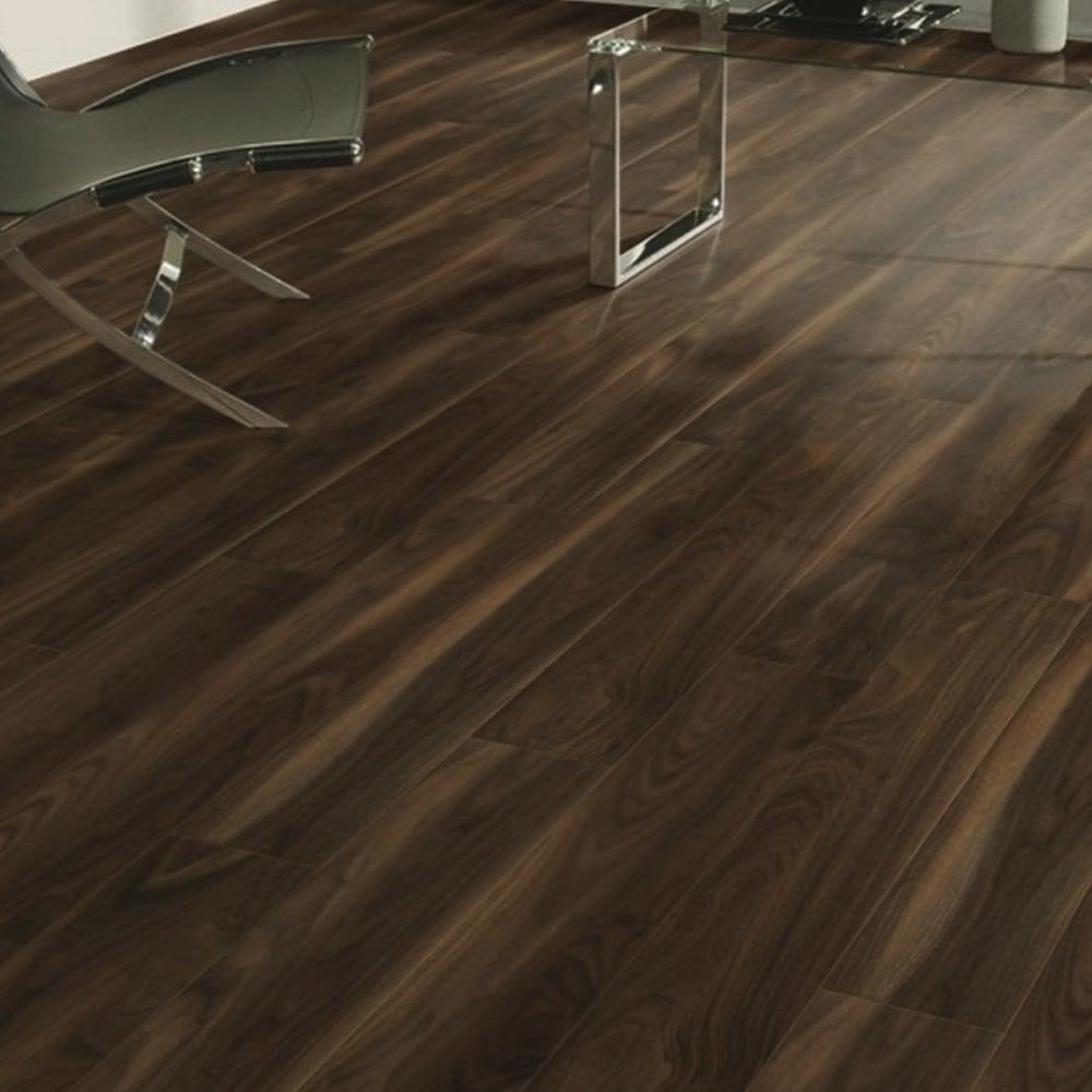 Vario 8mm Dark Walnut 4V Groove Laminate Flooring 7658