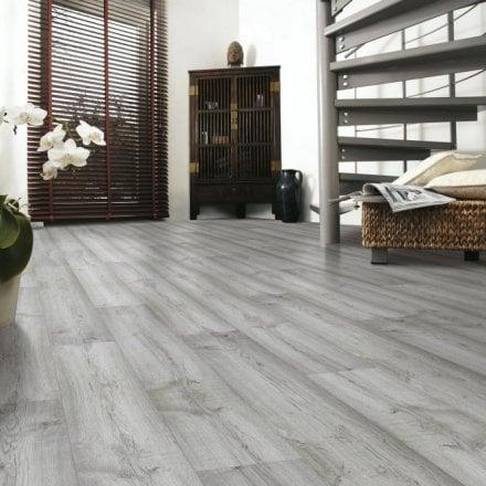 Planked Laminate Flooring, Light Grey Oak Effect Laminate Flooring