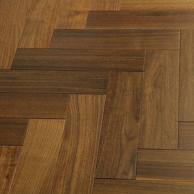 Wood+ Flooring Multi-Layer Herringbone 14x100mm Lacquered Engineered Walnut Flooring