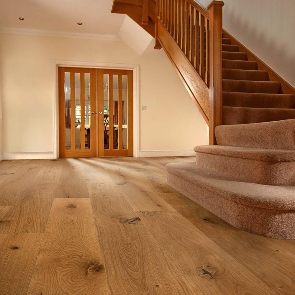 Engineering Wood Floor: Wood+ Flooring Tudor Rustic Oak 14/3x190mm Brushed & Oiled