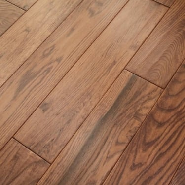 Wood Plus Classic 18x150mm Sunset Stained Handscraped Solid Oak Flooring